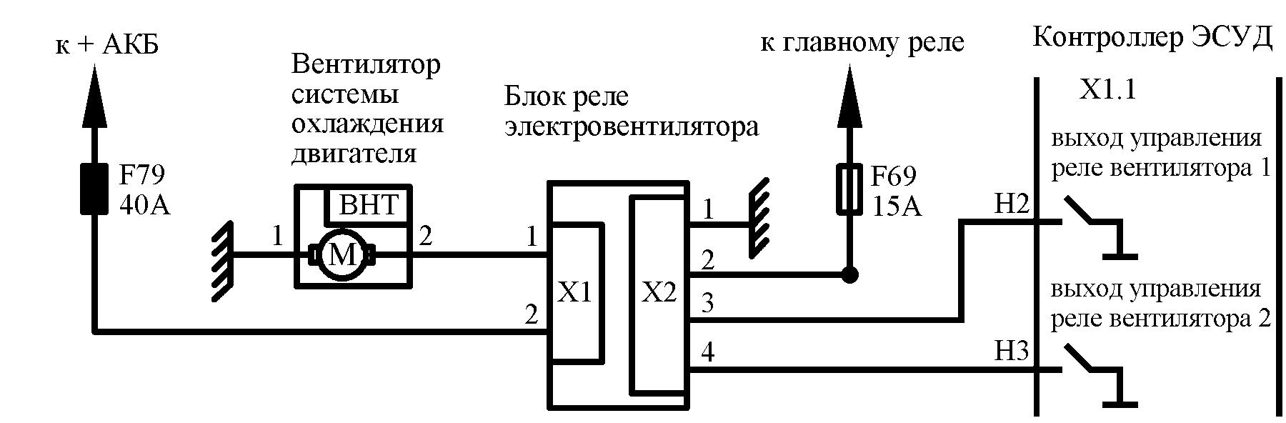 электросхема вентилятора радиатора