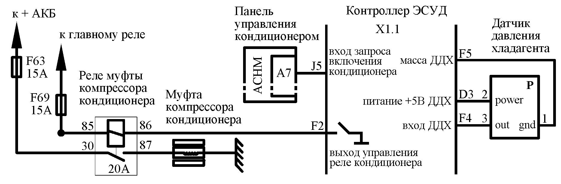 электросхема включения компрессора кондиционера